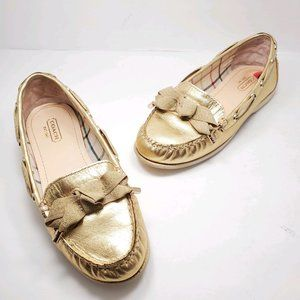 Coach | Gold Metallic Bow Loafers Shoes 6